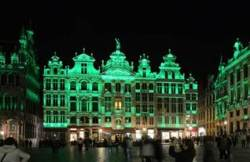 BRUSSELS GRAND-PLACE IN GREEN FOR ST PATRICK'S DAY