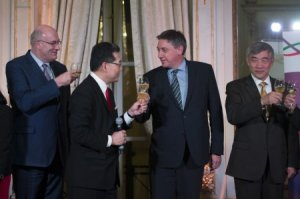 From left to right: Mr. Phil Hogan, Mr. Gregory So, Mr. Jan Jambon, Ambassador Qu Xing