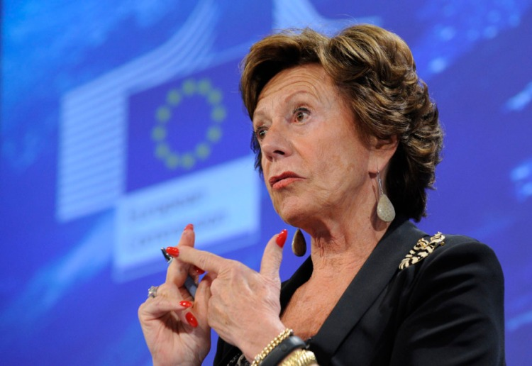 EU commissioner for Digital Agenda Neelie Kroes speaks during a press conference dedicated to the Commission's proposal to step forward on the creation of single market for telecoms in the European Union on September 12, 2013, at the EU Headquarters in Brussels. The European Commission today adopted its most ambitious plan in 26 years of telecoms market reform. Launched by Commission President Jose Manuel Barroso in his 2013 State of the Union speech, the Connected Continent legislative package, when adopted, will reduce consumer charges, simplify red tape faced by companies, and bring a range of new rights for both users and service providers, so that Europe can once again be a global digital leader. AFP PHOTO / JOHN THYS        (Photo credit should read JOHN THYS/AFP/Getty Images)