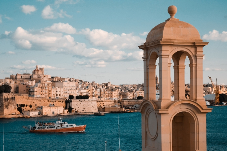 View of the Old Walled City of Valletta and its harbor. Malta, Mediterranean Sea.