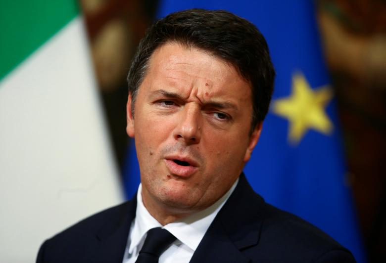 Italian Prime Minister Renzi leads a news conference in Rome